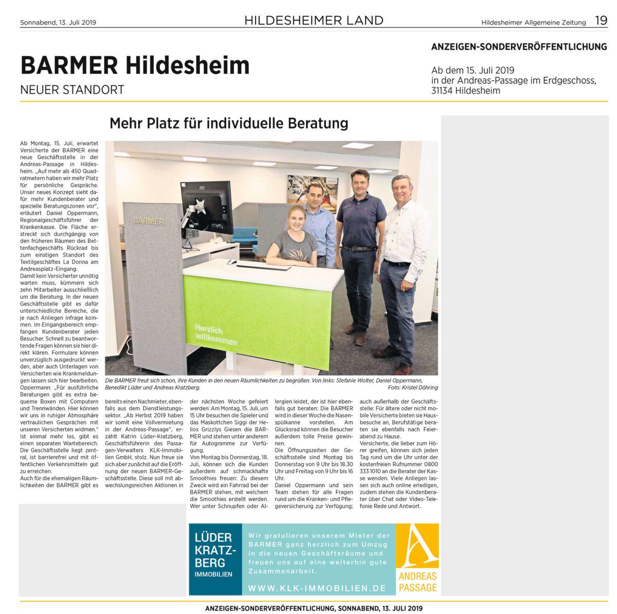 KLK Immobilien in Hildesheim – Zeitungsartikel